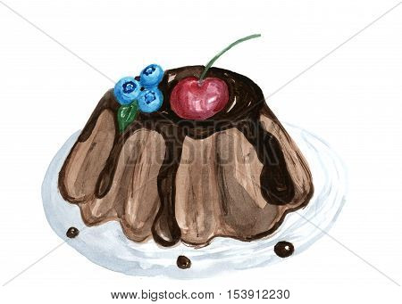 dessert cake watercolor illustration, yummy pie, sweet isolated hand drawn bake