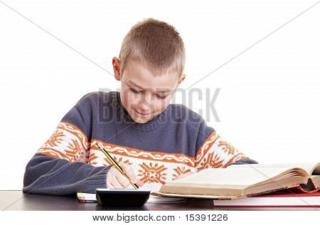 Boy Working On His Homework