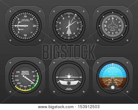 Flight instrument on a black dashboard. Vector illustration.