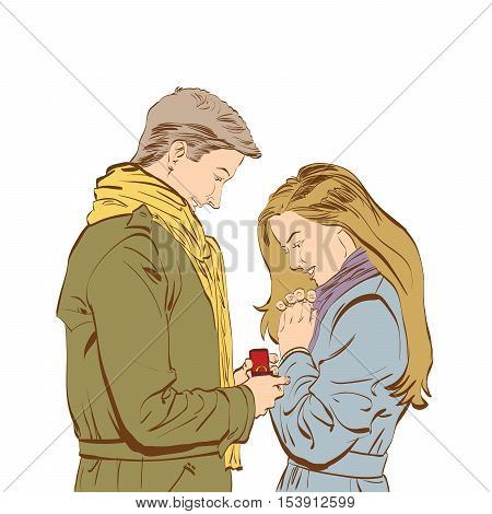 Boyfriend requesting hand of his girlfriend with a engagement ring, color illustration isolated vector