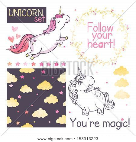 Unicorns. Set with seamless pattern and vector illustrations of unicorns, stars and clouds isolated on white background.
