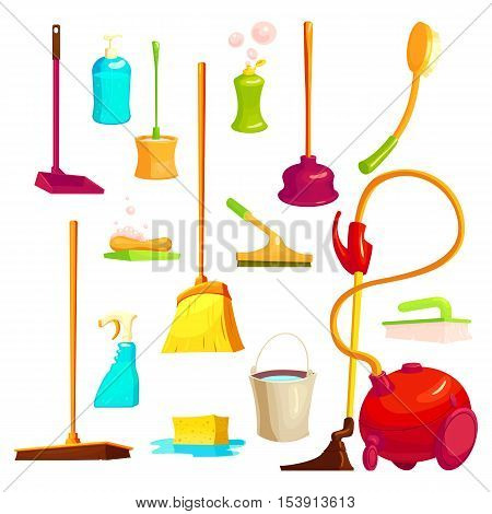Isolated cartoon style set with icons and images of cleaning utensils janitorial supplies and houseware vector illustration