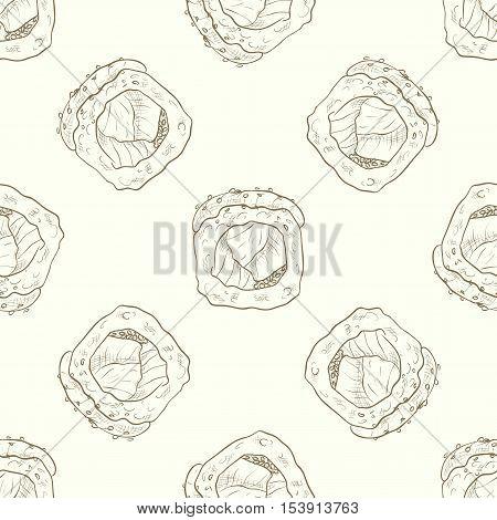 Vector seamless pattern sushi hamachi rolls, sketch