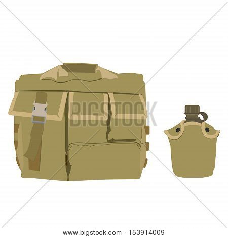Backpack And Water Canteen