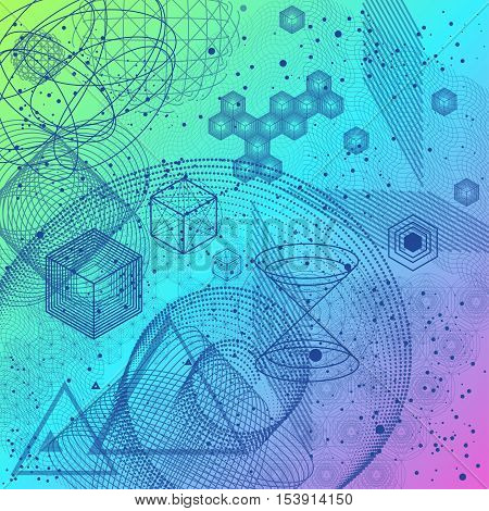 Sacred spiritual geometry symbols and elements background. Mesh with triangles, circles and squares. Geometric religion sign with spiritual energy. Spiritually theme.