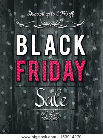 Black friday sale banner on wooden background vector illustration
