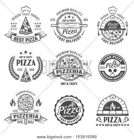 Pizzeria black white emblems with product quality inscription oven and culinary tools decorative elements isolated vector illustration