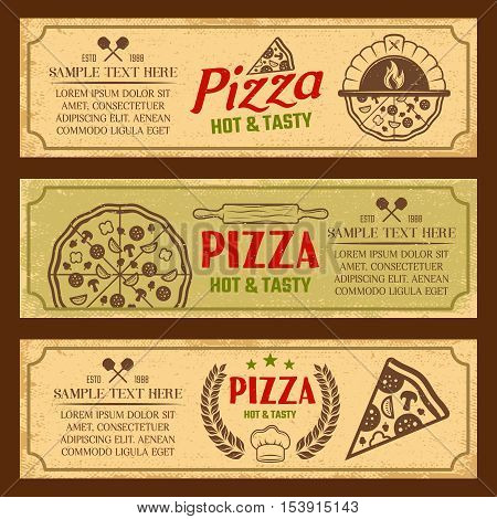 Set of horizontal banners in vintage style with pizza oven and culinary tools isolated vector illustration