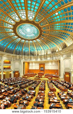BUCHAREST ROMANIA - JUNE 17 2014: Romanian Senate celebrating 150 years of activity. Romanian Senate was founded by Alexandru Ioan Cuza in 1864 being one of the oldest in Europe