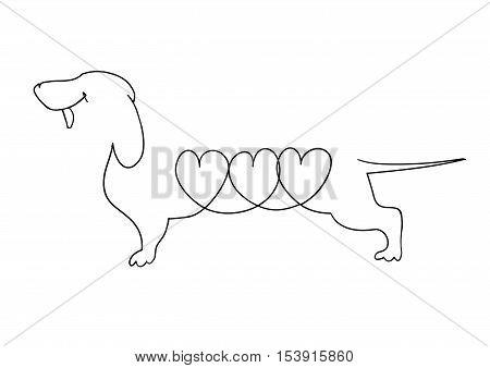freehand drawn black and white cartoon dachshund