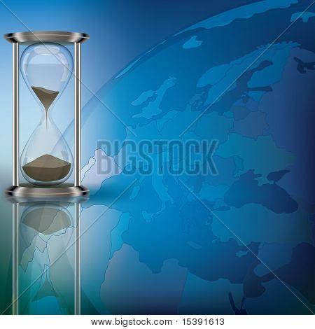 Globe And Hourglass On Blue