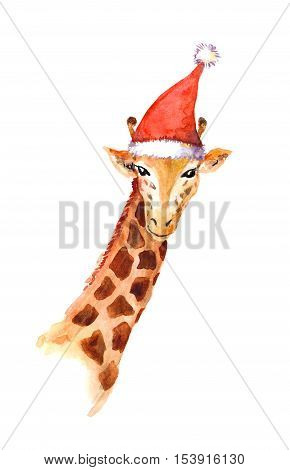 Cute new year giraffe in red santa's hat. Watercolor christmas animal