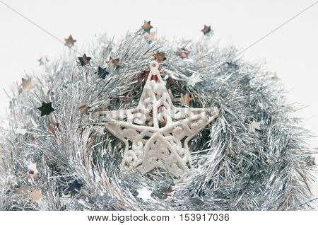 Silver Christmas Star On Isolted White Background