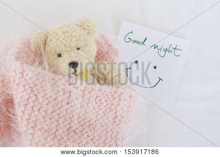 good night message card and teddy bear sleep in pink blanket wool