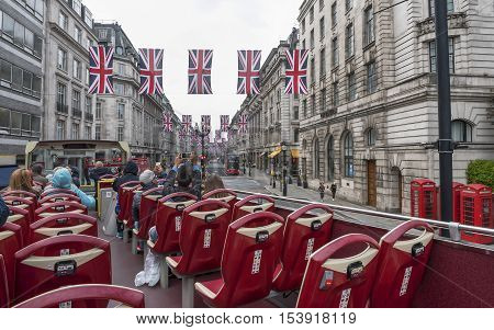 London, the UK - May 2016: touristic bus at Regent street