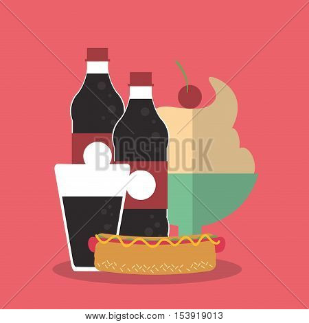 Hot dog and soda icon. Fast food menu restaurant and market theme. Colorful design. Vector illustratio