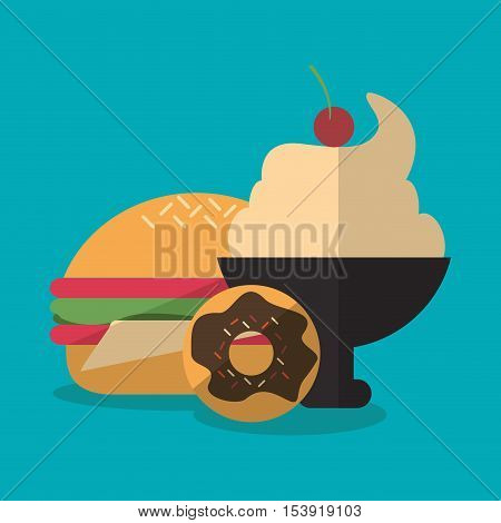 Hamburger and ice cream icon. Fast food menu restaurant and market theme. Colorful design. Vector illustratio