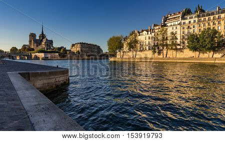 Notre Dame de Paris and the banks of the Seine River  (Quai d'Orleans) at sunset in Summer. Ile Saint Louis and Ile de la Cite, 4th Arrondissement, Paris, France
