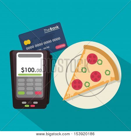 Pizza dataphone and credit card icon. Fast food menu restaurant and market theme. Colorful design. Vector illustratio