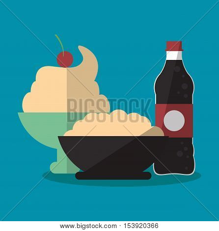 Ice cream and soda icon. Fast food menu restaurant and market theme. Colorful design. Vector illustratio