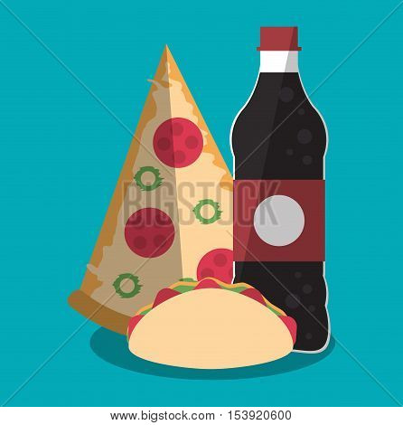 Pizza taco and soda icon. Fast food menu restaurant and market theme. Colorful design. Vector illustratio