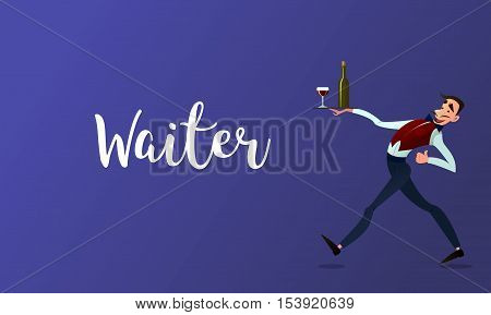 Waiter spacing .Menyu restaurant. Fast service. Design in flat style.Vector detailed characters