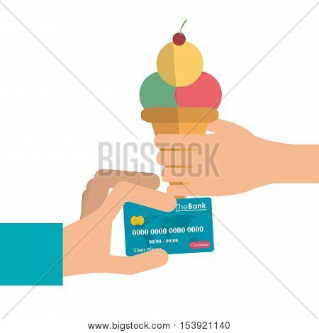 Ice cream and credit card icon. Fast food menu restaurant and market theme. Colorful design. Vector illustratio