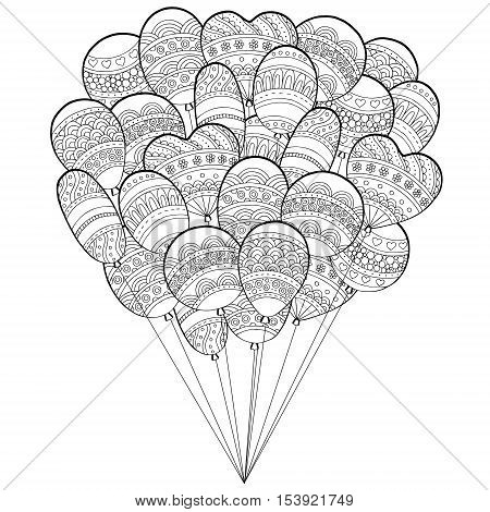 Vector hand drawn balloons illustration for adult coloring book. Freehand sketch for adult anti stress coloring book page with doodle and zentangle elements.