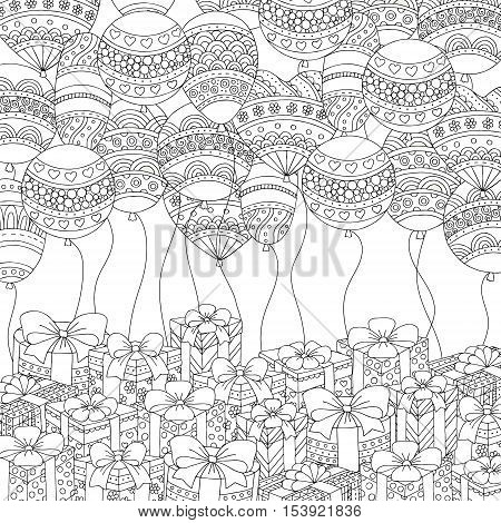 Vector hand drawn balloons and gifts illustration for adult coloring book. Freehand sketch for adult anti stress coloring book page with doodle and zentangle elements.