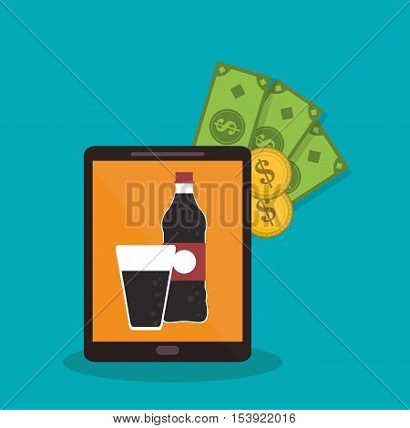 Soda and tablet icon. Fast food menu restaurant and market theme. Colorful design. Vector illustratio