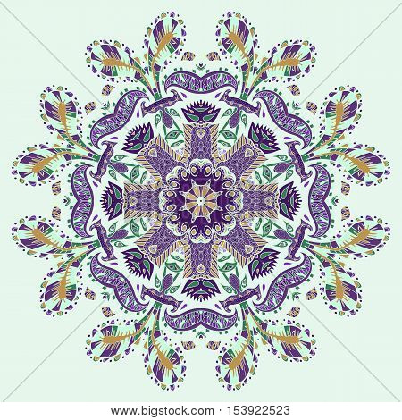 Mandala geometric round ornament. Traditional ornamental paisley bandanna. Hand drawn background with artistic pattern. Seamless pattern can be used for  fills background