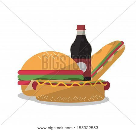 Hamburger sandwich hot dog and soda icon. Fast food menu restaurant and market theme. Colorful design. Vector illustratio
