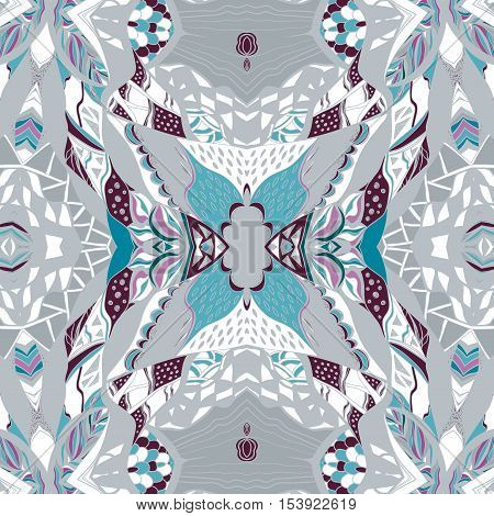 Traditional ornamental paisley bandanna. Hand drawn background with artistic pattern. Blue white and gray colors. Seamless pattern can be used for fills background