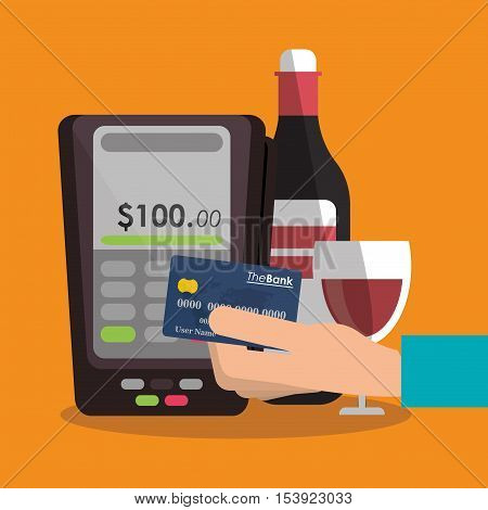 Wine bottle cup dataphone and credit card icon. Fast food menu and market theme. Colorful design. Vector illustratio