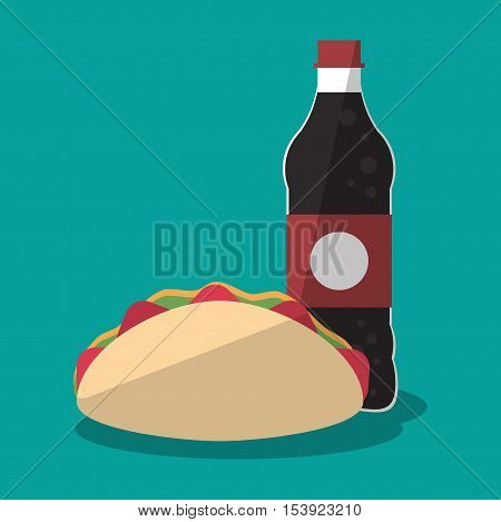 Taco and soda icon. Fast food menu restaurant and market theme. Colorful design. Vector illustratio