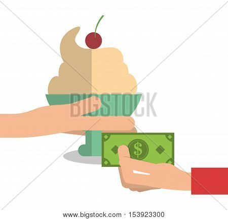 Ice cream and bill icon. Fast food menu restaurant and market theme. Colorful design. Vector illustratio