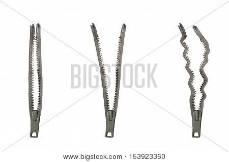 Metal zippers set. Three zippers isolated on white