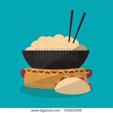 Hot dog taco and noodle icon. Fast food menu restaurant and market theme. Colorful design. Vector illustratio