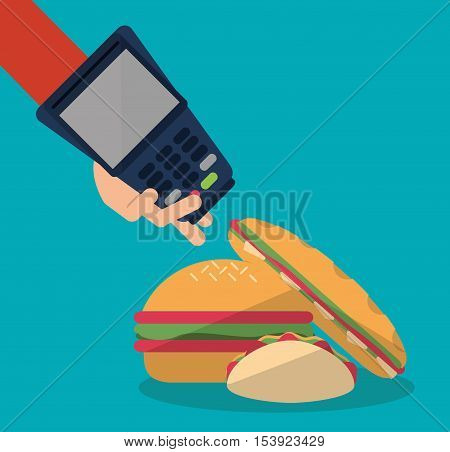 Hamburger taco sandwich and dataphone icon. Fast food menu restaurant and market theme. Colorful design. Vector illustratio