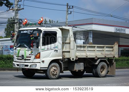 CHIANGMAI THAILAND - OCTOBER 9 2016: Private Hino Dump Truck. Series 500 FC9J. On road no.1001 8 km from Chiangmai Business Area.
