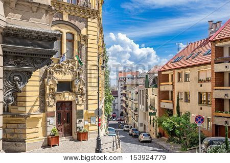 Colorful street with homes and offices in Budapest Hungary