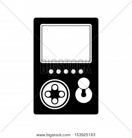 silhouette game cube remote control with screen and joystick vector illustration