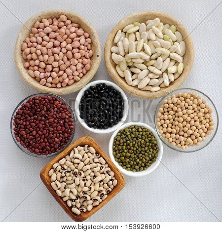 Collection Of Bean On White Background