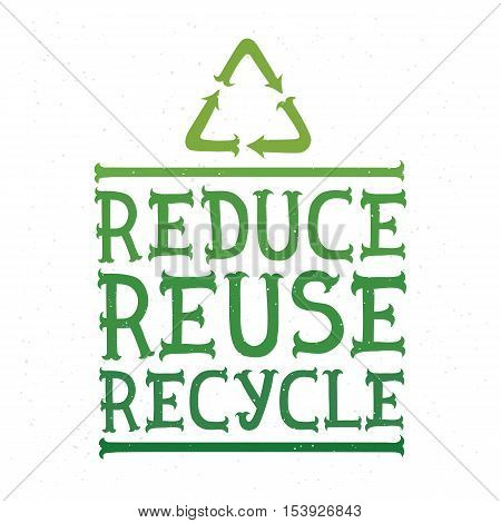 Reduce reuse recycle eco green vector illustration poster
