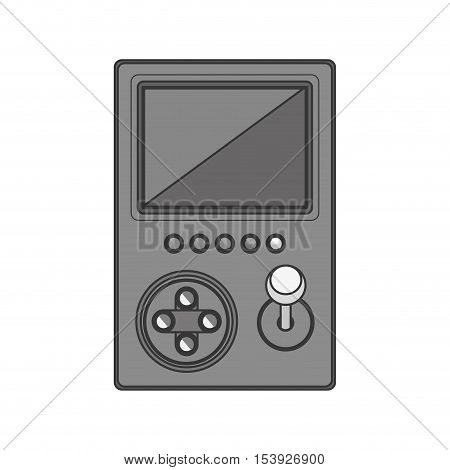 silhouette monochrome game cube remote control with screen and joystick vector illustration