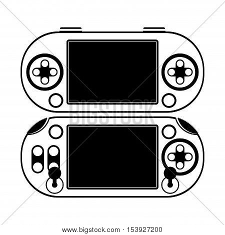 twice silhouette remote control for games with screen and joystick vector illustration