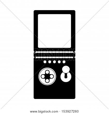 silhouette remote control for games with screen and joystick vector illustration