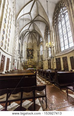 Interior Of The Church Of The Teutonic Order  In Vienna.