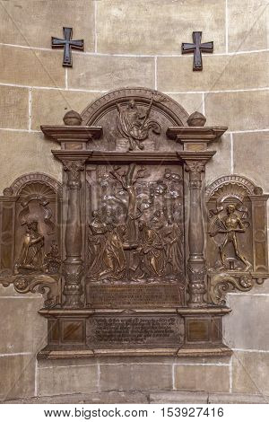 Stone Relief In The Church Of The Teutonic Order  In Vienna.