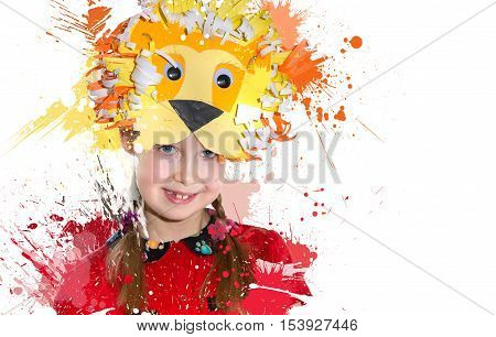 Little girl demonstrating her art craft works, Lion paper mask. Educational and creative concept.